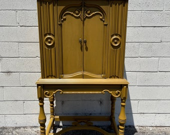 Antique Cabinet Hutch Carved Wood French Provincial Country Display Case Shabby Chic Furniture Vintage Storage Bookcase Armoire Cabinet