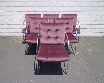 Set of Chairs 6 Armchairs Dining Cantilever Milo Baughman DIA Chrome Mid Century Modern Hollywood Regency Retro Vintage Seating Boho Chic