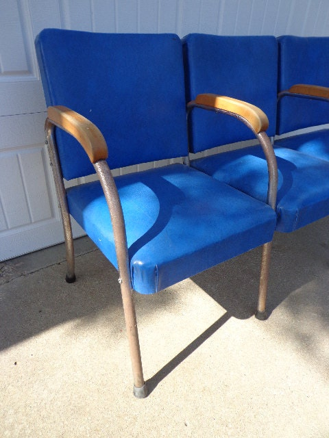 Bench Vintage Antique Waiting Room Theater Stadium Seats