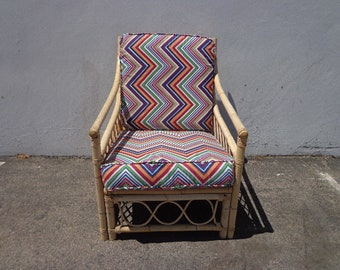 Rattan Chair Armchair Seating Living Room Bohemian Boho Chic Peacock Coastal Cottage Vintage Seating Glam Beach Decor Faux Bamboo Italy
