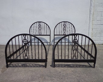 2 Antique Twin Beds Traditional Single Black Metal Bedroom Kids Headboard Victorian Cottage Coastal Country Farm Rustic CUSTOM PAINT AVAIL