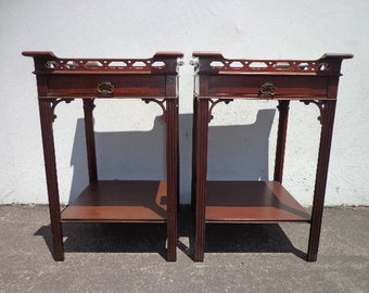 Pair of Antique Tables Fretwork Mahogany Wood Nightstands Bedside Table Chinoiserie Victorian Asian Hollywood Regency CUSTOM PAINT AVAIL
