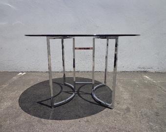 Mid Century Modern Dining Set Table Dinette Kitchen Danish Chrome Metal Milo Baughman Style Armchair MCM Retro Vintage Furniture