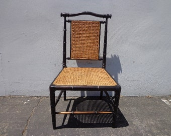 Bamboo Chair Vintage Cane Vanity Desk Seating Bohemian Boho Chic Mid Century Lounge Regency Shabby Chic Accent Cottage France Victorian