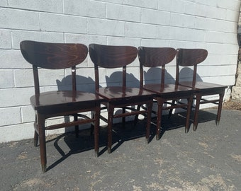 Set of Dining Chairs Mid Century Modern Seating Wood MCM Danish Mod Eames Kitchen Style Bohemian Boho Chic Denmark Antique Furniture