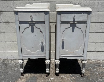 Pair of Nightstands Victorian French Provincial Empire Antique Shabby Chic Finish Storage Bedside Tables Country Bedroom CUSTOM PAINT AVAIL