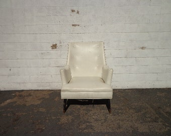 Mid Century Modern Chair Lounge Armchair White Leatherette Chesterfield Handsome Rustic Chippendale Mid Century English Seating Accent