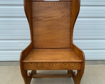 Antique Oak Commode Armchair Traditional American Colonial Country French Provincial Shabby Chic Windsor Spindle Chair Vintage Seating Wood