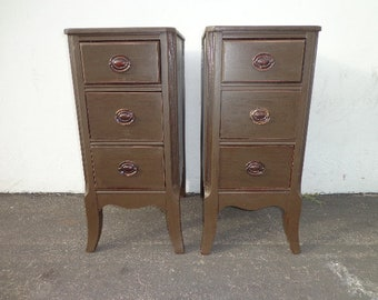Pair of Nightstands Hepplewhite French Provincial Empire Antique Shabby Chic Storage Bedside Tables Country Bedroom CUSTOM PAINT AVAIL