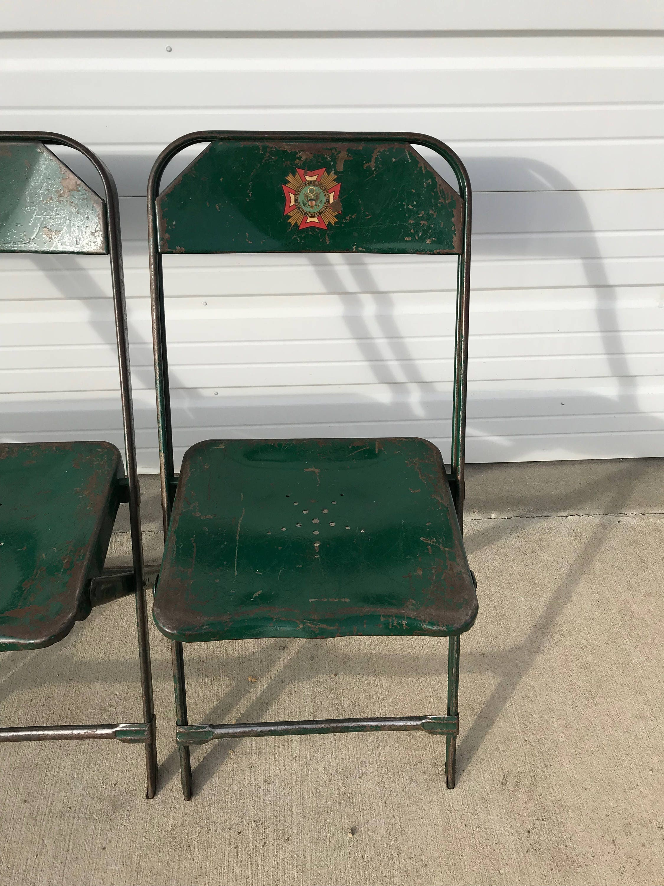 Folding Chairs Set Metal Vintage Antique Dfw Waiting Room