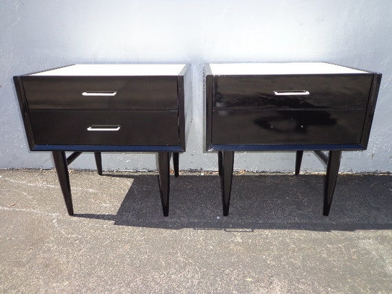 American of Martinsville Pair of Nightstands Mid Century Modern Bedside  Tables Furniture Bedroom Storage Bohemian Chic CUTOM PAINT AVAIL