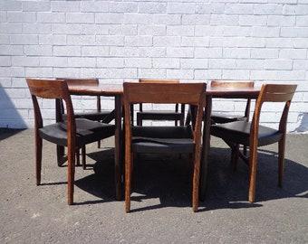 7pc Danish Modern Niels Koefoed Dining Set Mid Century Table Chairs Rosewood Wood Drop Leaf Gate Leg Denmark Koefoeds Møbelfabrik Kitchen
