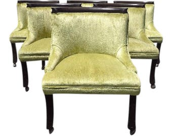 Chairs Erwin Lambeth Tomlinson Vintage Lounge Armchair Wood Seating Slipper Designer Chic Antique Hollywood Regency Wood Mid Century Modern