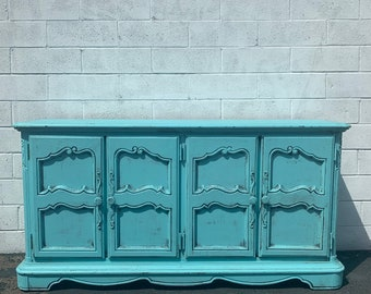 Wood Cabinet French Antique Shabby Chic Sideboard Hutch Carved Console France Provincial Country Vintage Buffet Server CUSTOM PAINT AVAIL