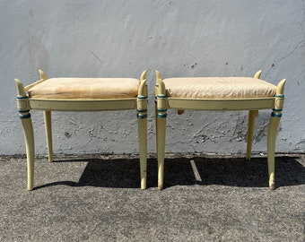 2 Stools Bench Bed Benches Pair of Ottoman Country French Provincial Seating Ottomans Chair Hassock Footstool Boho Hollywood Regency Chic