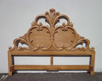 Headboard French Provincial Rococo King Size Bedroom Furniture Carved Wood Neoclassical  Quality Hollywood Regency Glam CUSTOM PAINT AVAIL