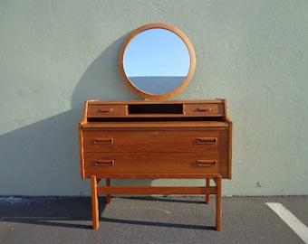 Desk Mid Century Modern Danish Vanity MCM Wood Storage Home Office Writing Vintage Furniture Midcentury Makeup Table Mirror Secretary