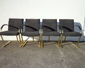 4 Chairs Armchairs Milo Baughman Style Cantilever Gold Brass Metal Mid Century Modern Hollywood Regency Dining Retro Vintage Chair Seating