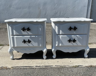 2 French Provincial Nightstands Set Bedroom Storage Vintage Shabby Chic Bedside Tables Nightstand Regency Paint Cottage CUSTOM PAINT AVAIL