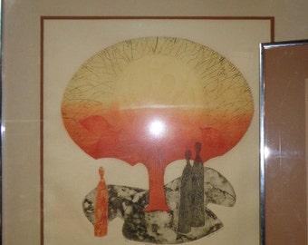 Mid Century Art Lithograph Print by Greta Carmen Midcentury Mod MCM Wall Art Decor