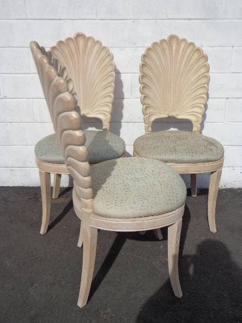 Superbe Dining Chairs Grotto Italian Carved Wood Seashell Shell Back Dining Set  Chair Miami Beach Regency Seating Vintage Tropical Glam Hollywood