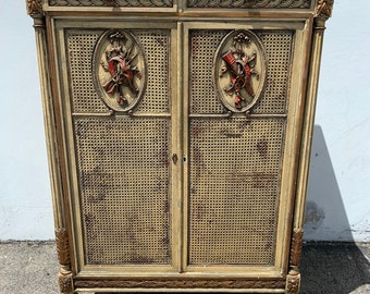 Rustic Cabinet Primitive Hutch Carved Wood County French Provincial Cane Display Case Shabby Chic Furniture Vintage Storage Bookcase Armoire