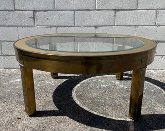 Gold Coffee Table Hollywood Regency Milo Baughman Style Glass Brass Metal Accent Mid Century Modern MCM Side Boho Ring Vintage Living Room