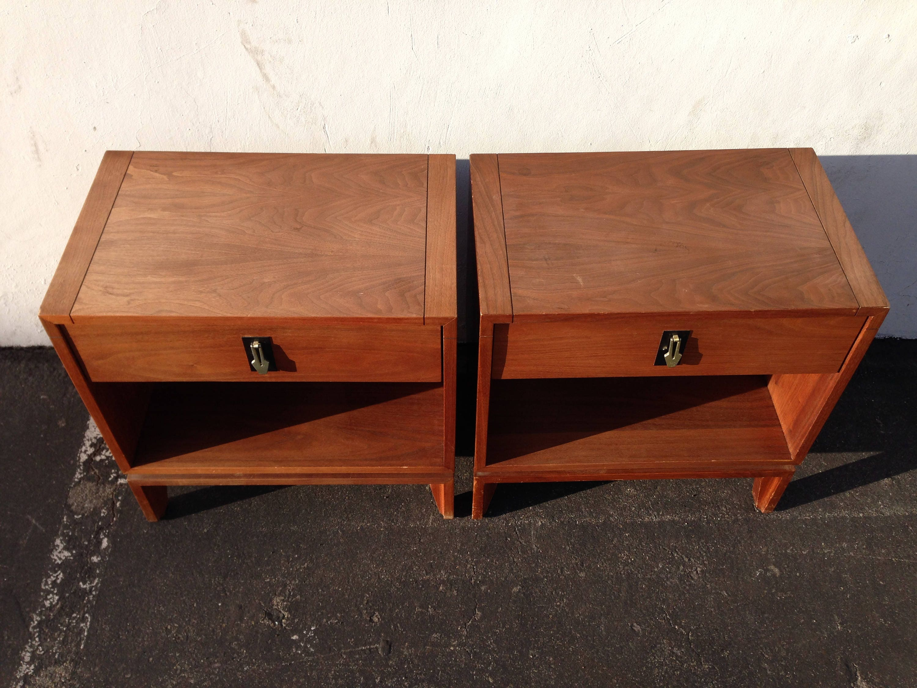 Charmant Pair Of Nightstands Brown Saltman Furniture Bedside Tables Set Mid Century  Modern Cabinet Credenza Storage Media Vintage Boho Chic Eames MCM