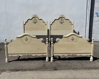 2 Twin Beds Antique French Provincial Single Spindle Bedroom Kids Headboard Cottage Coastal Country Farm Rustic Wood CUSTOM PAINT AVAIL