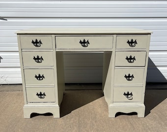 Antique Wood Desk Shabby Chic Traditional  Queen Anne Writing Regency White Vanity Shabby Chic Makeup Table Laptop Stand Home Office Student