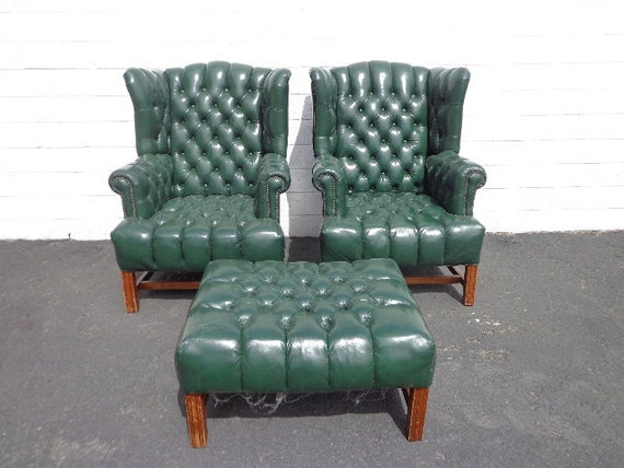 Stupendous 3Pc Handsome Deep Tufted Leather Wingback Armchairs Chair Seating Vintage Chesterfield Chippendale Lounge Mid Century Modern English Wing Gmtry Best Dining Table And Chair Ideas Images Gmtryco