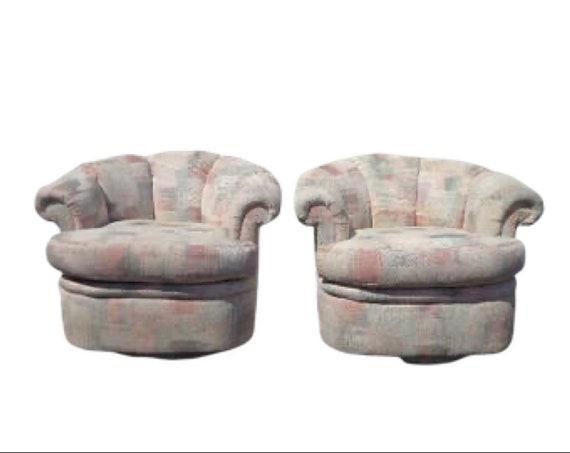 Cool 2 Swivel Chairs Platform Scalloped Tub Barrel Back Mid Century Modern Milo Baughman Style Armchair Regency Vintage Seating Tufted Vinyl Mcm Theyellowbook Wood Chair Design Ideas Theyellowbookinfo