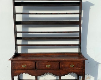 Antique Wood Hutch Buffet Console Shabby Chic County Traditional Display Furniture Vintage Storage Bookcase Bookshelf Craftsman Style