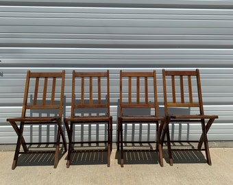 4 Antique Wood Folding Chairs Vintage Waiting Room Theater Stadium Seats Row Wood Rustic Farmhouse Primitive Seating Chair Bench Country