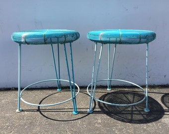 Bar Counter Stools Mid Century Blue Wire Danish Chairs Seating Modern Dining Chairs Midcentury Dining Steel Seats Metal Vintage Furniture