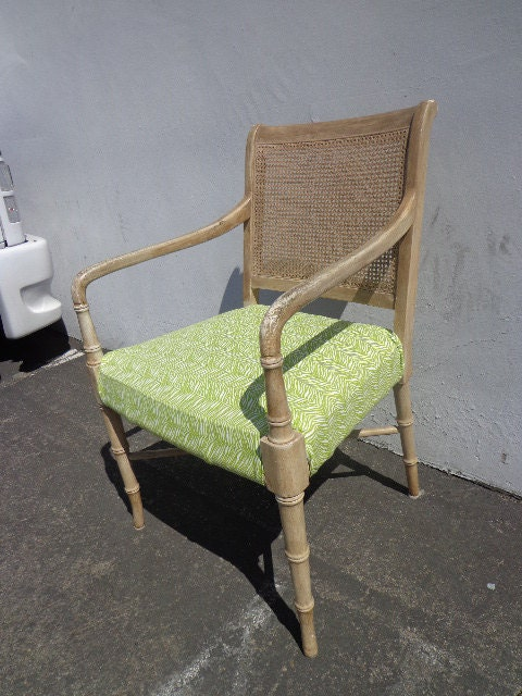 Faux Bamboo Chair Armchair Chinese Chippendale Vintage Mid