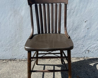 Antique Wood Spindle Chair Vintage Country French Seating Primitive Farmhouse Rustic Shabby Chic Children's Kid Furniture Student Desk