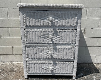 Vintage White Wicker Dresser Chest Tall Narrow Dresser Bedroom Storage Beach Accents Beachy Wicker Chinoiserie Boho Bohemian Eclectic