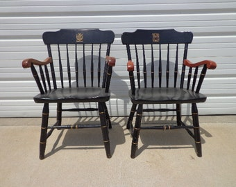 2 Antique Wood Armchairs American Chairs Seating Mid Century Modern Lounge Seating Vintage Furniture Pair of Chairs Lawyer's Chair Spindle