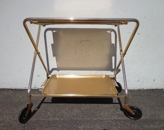 Mid Century Bar Cart Woodmet Folding Gold Copper Brass Vintage MCM Tea Serving Mid-Century Retro Tray Table Portable Liquor Wine Regency