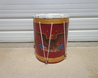 Antique Drum Side Patriotic American Toy Side Drum Hand Painted Eagle Centennial Vintage Flag Native Primitive Rustic Decor Collectible USA