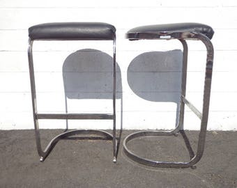 Set of 2 Bar Stools Chrome Black Milo Baughman Mid Century Modern Seating Dining Chairs Counter Cantilevered Vintage Hollywood Regency Boho