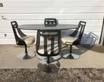 Dining Set Tulip Table Lucite Chair Black Mid Century Modern MCM Swivel Chairs Kitchen Dinette Retro Regency Vintage Chair Seating Chrome