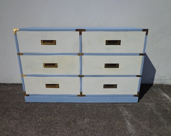 Campaign Dresser Chest Vintage Mid Century MCM Bureau Buffet Media Console Chinoiserie Chest of Drawers Asian Chinese CUSTOM PAINT Avail