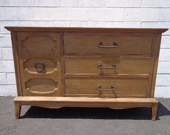 Mid Century Modern Furniture Sideboard Wood Dresser Console Vintage Cabinet Chest Storage Table Carved Bohemian Boho CUSTOM PAINT AVAIL