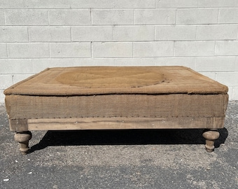 Deconstructed French Napoleonic Ottoman Country French Shabby Chic Bench Vintage Burlap Wood Lounge English Pair