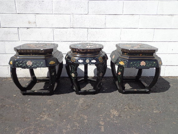 Stupendous 3 Stools Asian Inspired Chinese Lacquer Benches Seating Ottomans Chair Hassock Footstool Chinoiserie Asian Boho Hollywood Regency Chic Gmtry Best Dining Table And Chair Ideas Images Gmtryco