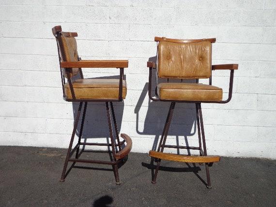 Remarkable Bar Stools Set Armchair Wood Metal Swivel Bohemian Boho Chic Pair Dining Chair Vintage Seating Mid Century Modern Vintage Furniture Bamboo Cjindustries Chair Design For Home Cjindustriesco