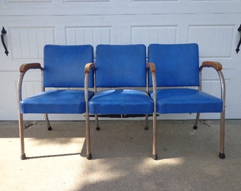 Bench Vintage Antique Waiting Room Theater Stadium Seats Row Mid Century Modern MCM midcentury Entry Way Seating Bench metal wood reclaim