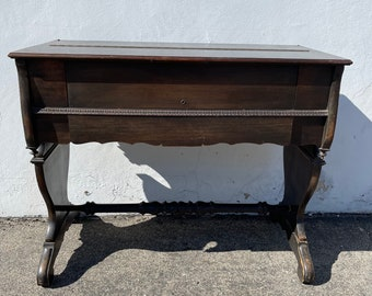 Antique Secretary Desk Traditional Style Wood Writing Table Vintage Rustic Primitive Home Office Laptop Stand Flip Top CUSTOM PAINT AVAIL